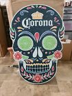 Corona Beer Day Of The Dead Skull Solar Powered Motion Flashing Wood Sign NEW