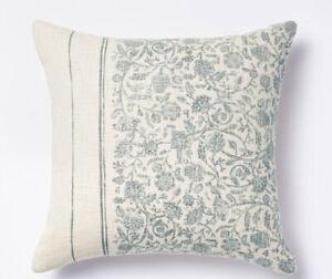 Studio McGee Threshold Square Floral Striped Throw Pillow Blue Cream