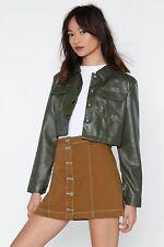 Saint Genies Contrast Stitch Crop Vegan Leather Jacket Green UK 10