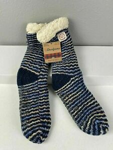 Dearfoams Blizzard SLIPPER SOCKS Blue Space Dye textured Knit