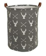 Storage Basket Bin Laundry Deer Grey Rustic Nursery Decor Toy Organizer New