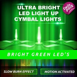 LIGHTENING BOLTZ- MEGA BRIGHT GREEN LIGHT UP CYMBAL LIGHT VIBRATION SENSITIVE