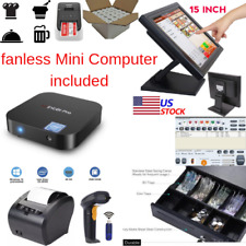 New mini Fanless Pc, 80mm Printer Pos Point of Sale System Combo Retail Labels