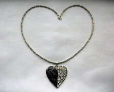 Tibetan Silver, Enamel & Rhinestone Heart Pendant & Beaded Necklace