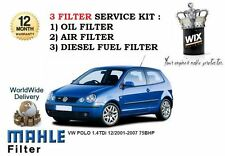 FOR VOLKSWAGEN VW POLO 1.4 TDi 75BHP 2001-2007 OIL AIR FUEL FILTER SERVICE KIT