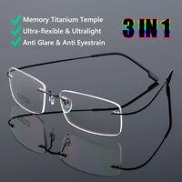 Flessibile Occhiali a pressione Rimlesso Occhiali da lettura Titanio di memoria