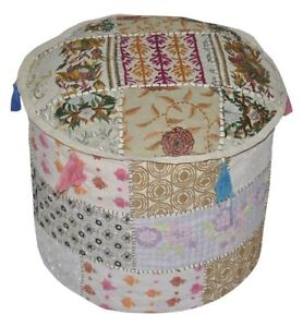 Indien Traditional Cotton Round Ottoman Cushion Pouffe Cover / Bohemian Handmade
