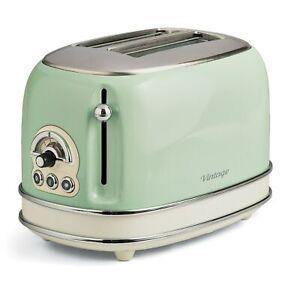 Tostapane Ariete Toaster Vintage 2 fette verde Scongelamento 6 livelli