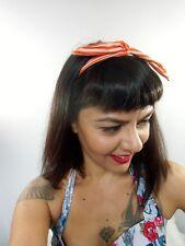 Bandeau foulard cheveux rigide cordon maléable tissu rouge et blanc à rayures