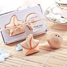Ceramic Starfish Shell Salt Pepper Shakers Set Wedding Bridal Shower New.