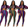 Women Oblique Shoulder Colorful Stripes Casual Club Party Jumpsuit Outfits 2pc