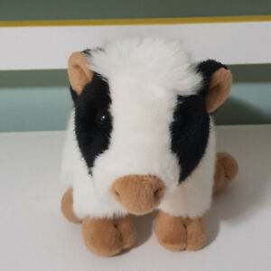 ELKA BLACK AND WHITE COW PLUSH TOY 15CM BEANS IN BUM! STUFFED ANIMAL!