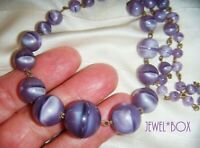 ART DECO Czech Bohemian LILAC SATIN GRADUATED ART GLASS BEADS WIRED NECKLACE