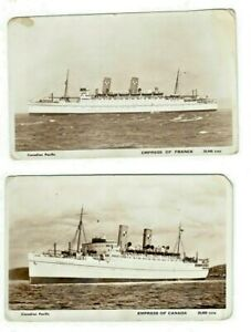 2 RPPC Canadian Pacific Empress Canada & France photo postcard Ocean Liner Ship