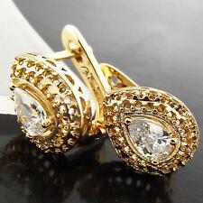 FS983 GENUINE REAL 18K YELLOW G/F GOLD SOLID DIAMOND SIMULATED HUGGIE EARRINGS