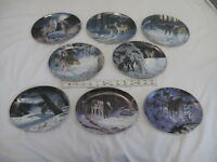 """Complete """"Winter Shadows"""" Collection Bradford Exchange 8 Plates Wolves Wolf Snow"""