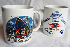 Disney Cruise Line ceramic coffee mug set of 2 Mickey Minnie Donald Goofy signed