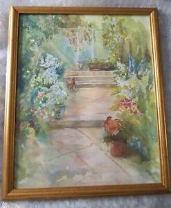 Original Watercolor Painting - Jean Barnes - Exmouth, Devon - 'Rachels Garden'