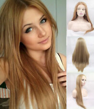 """US 24"""" Silky Straight Heat Resistant Hair Lace Front Wig Honey Blonde Handtied"""