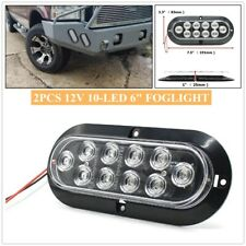 """2x Oval Clear Lens White Stop Turn Tail Backup Reverse Fog Lights Lamps 6"""" 10LED"""
