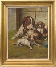 Künstlerische Öl-Malerei mit Hund-Motiv von 1900-1949