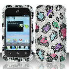 For Huawei Ascend II 2 M865 Crystal Diamond Bling Case Cover Rainbow Leopard