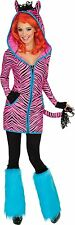 Bright Zebra Women's Adult Pink Hoodie Dress Tail Ears Halloween Costume + Wig S