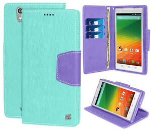 MINT PURPLE INFOLIO WALLET CREDIT CARD CASH CASE COVER STAND FOR ZTE ZMAX Z970
