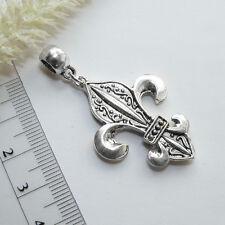 Colgante ** Fleur de Lis * 3d ** Antik plata 52x28mm cadenas remolque Lirio