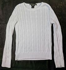 Ralph Lauren Black Label Slim Fit Light Blue Cable Knit Sweater Size Medium