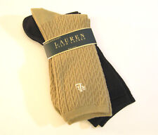 2 PR Ralph Lauren Ladies Socks Trouser Khaki Cable / Brown Flat Knit - NEW
