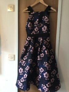 LOST IN  Navy Blue & Rose Gold Floral FIT & FLARE Size 8 Fully Lined