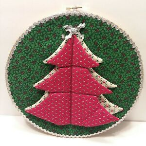 "Vintage Christmas Tree 12"" Wood Hoop Handmade Country Quilted Fabric Primitive"