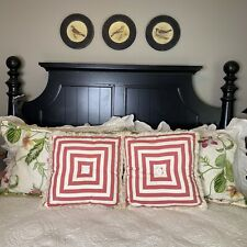 2 Croscill Hibiscus Collection Bedding Boudoir Pillows Cottage Pink White Stripe