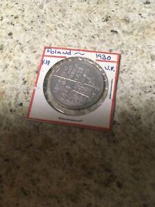 RARE POLAND 1930 5 ZLOTYCH UF SCARCE SILVER COIN