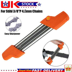 2 IN 1 4/4.8mm Metal Easy Chainsaw File Sharpener Replace For Stihl 3/8''P Chain