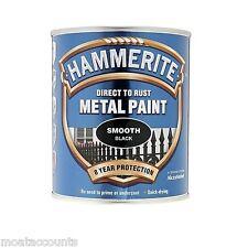 HAMMERITE Pintura De Metal, Acabado Negro Liso [5092966] 750 Ml