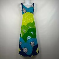 Vintage 70s Malihini Hawaii Green Blue Floral Barkcloth Maxi Hostess Dress Sz 8