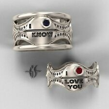 His and Hers Star Wars Wedding Ring Set 18K White Gold with Rubies and Sapphire