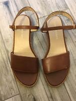 Women's Stuart Weitzman Brown Leather Ankle Strap Flat Sandals Size 10 Mint Cond