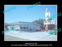OLD POSTCARD SIZE PHOTO OKLAHOMA CITY OK USA TRIUMPH MOTORCYCLE DEALER c1970