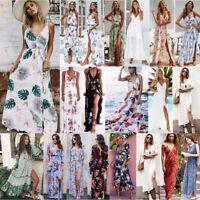 Women Boho Floral Maxi Long Dress Summer Evening Party Beach Slit Sundress Lot