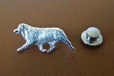 Small Sterling Silver Australian Shepherd Moving Study Lapel Pin