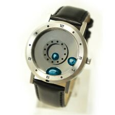 Liquid Metal Wrist Watch Silver Blue Metal Black Leather Belt