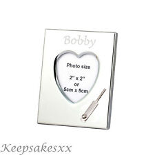 Heart Photo Frame with CRICKET BAT in Sterling Silver & personalised engraving