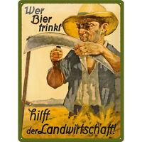 Biertrinker Signo de Landwirtschaft Vintage Póster Bier Publicidad Bierschild