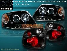1997-2000 FORD F-150 HALO LED PROJECTOR HEADLIGHTS + FLARESIDE TAIL LIGHTS BLACK