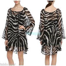 NWT M 8-10 $307 Hale Bob Isabella Sexy Pleated Black White Chiffon Flowy Dress