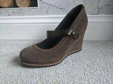 WHITE STUFF Brown leather wedge court Mary Jane boho heels SIZE 6.5
