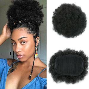 1Pcs Big Afro Bun Ponytail Puff Drawstring Wrap Short Synthetic Curly Hair #1B